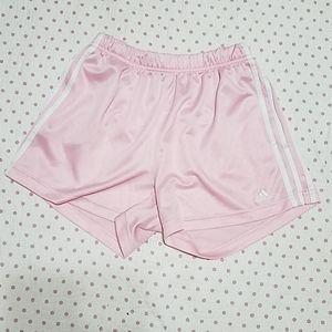 Adidas pink and white running shorts